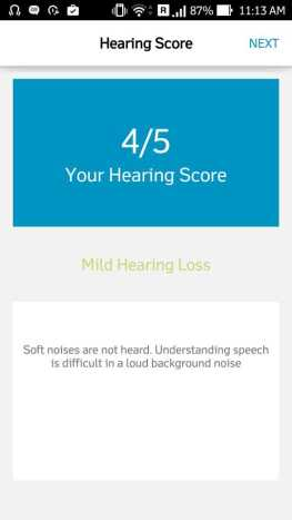 Quadio Q+ hearing test score