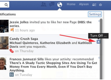 How to turn off candy crush saga requests in Facebook