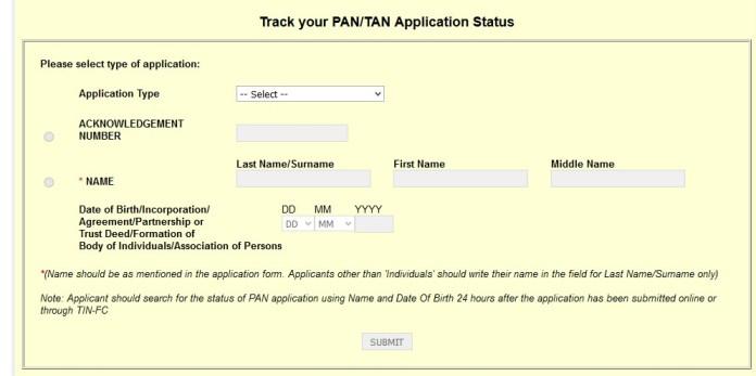 pan card status check