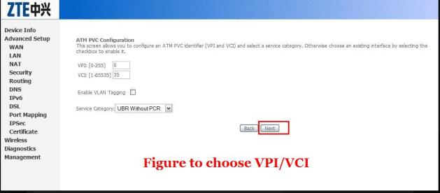 chose vpi Setup BSNL Type II (Type 2) Modem Configure zte zxdsl 531b Modem