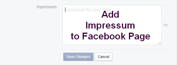 how to add impressum to facebook page
