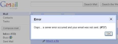 gmail error 707