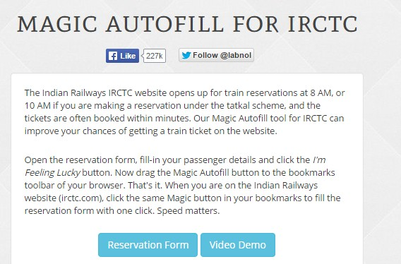 magic auto fill tatkal booking