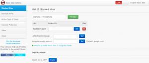 block websites chrome