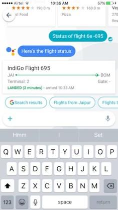 flight status with google allo
