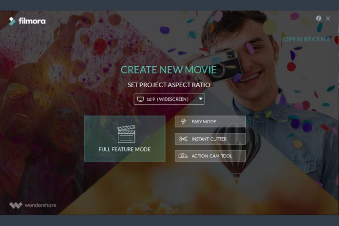 Wondershare filmora review video editing simplified features filmora video editor has the bright interface and multiple editing modes including one dedicated to action camera video editing the start up page shows you ccuart Choice Image