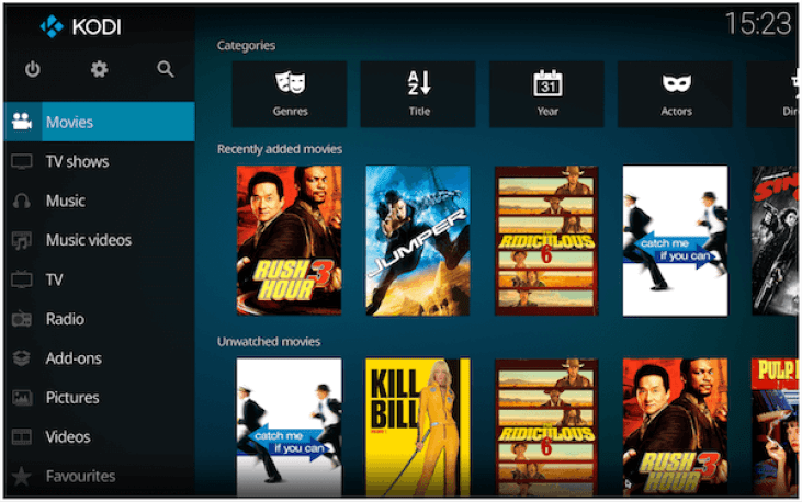 Kodi app interface