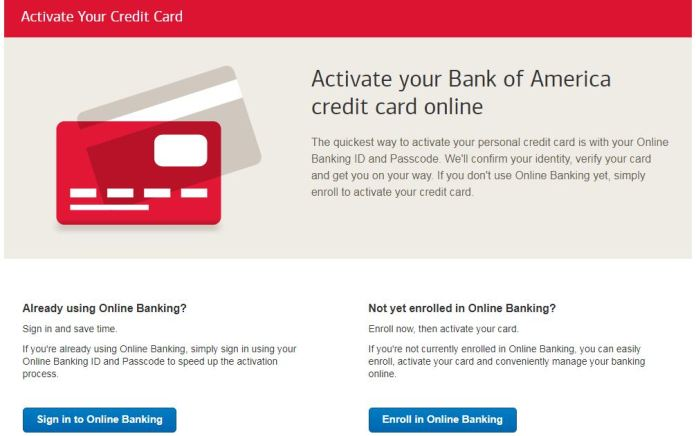bank of america card activation
