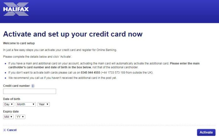 halifax credit card activation