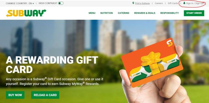 subway card activation