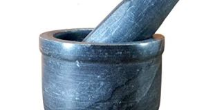 "KLEO 4"" Wide/ 3.5"" Deep Black Natural Stone Mortar and Pestle Set as Spice, Medicine Grinder Masher - Okhli and Musal"