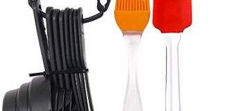 Zollyss Popular Combo - 8 Pc Black Measuring Cups and Spoons Set + Silicone Spatula and Pastry Brush