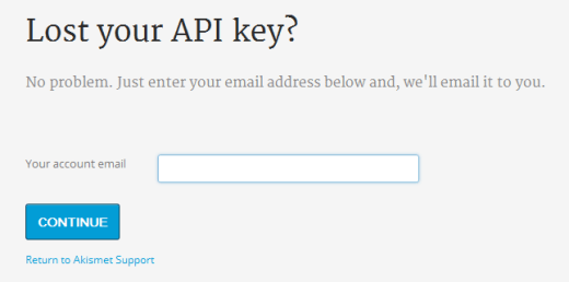 Akismet Lost API Key