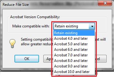 Acrobat compatibility version