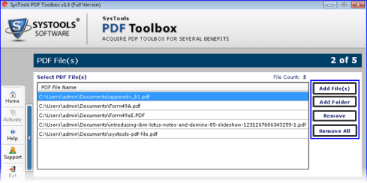 SysTools PDF Toolbox Add Files