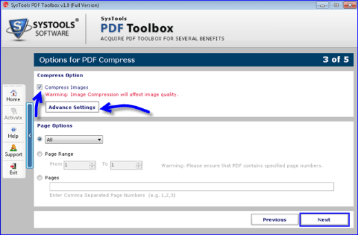 SysTools PDF Toolbox Advance Settings