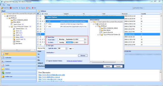 Mail Filtering using QuickData OST to PST Converter