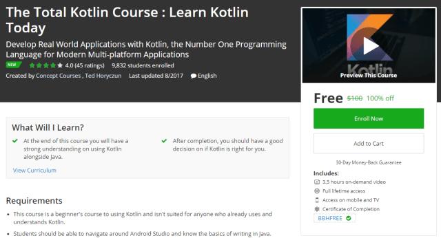 The Total Kotlin Course : Learn Kotlin Today