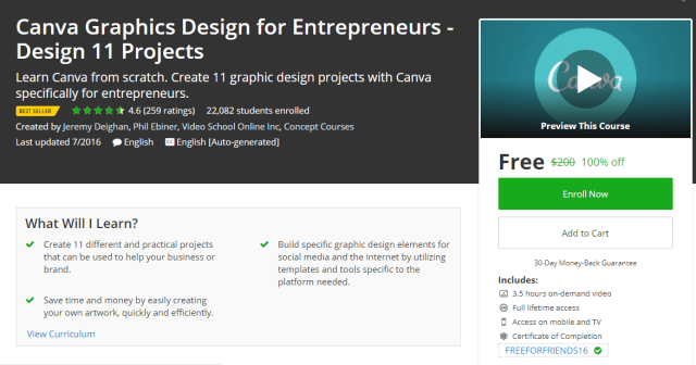 Canva Graphics Design For Entrepreneurs - Design 11 Projects
