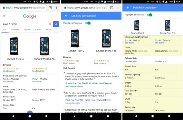ميزه جديده من جوجل تتيح للمستخدمين المقارنه بين مواصفات الهواتف الذكيه