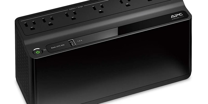 APC UPS 600VA Battery Backup Surge Protector with USB Charging Port, APC UPS BackUPS (BE600M1)