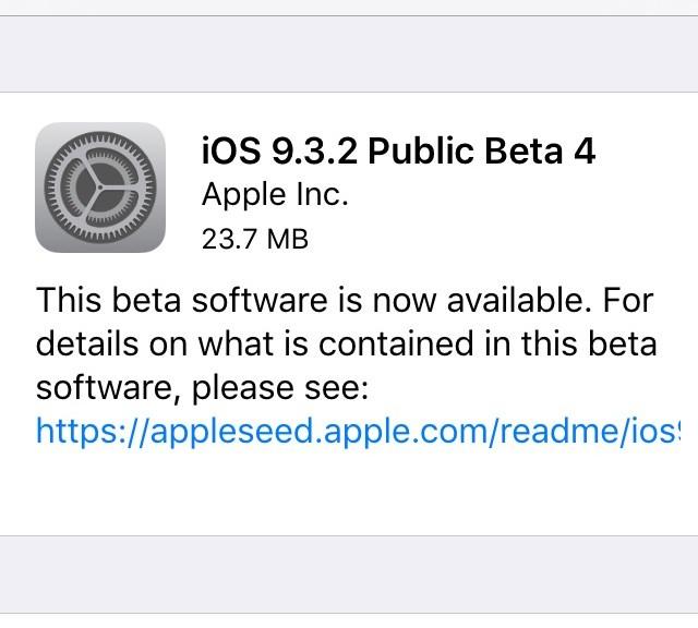 iOS 9.3.2 beta 4 (build 13F68)