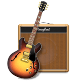 Garage Band's Logo. A guitar resting in front of a brown amplifier.