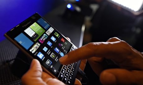 A BlackBerry Passport smartphone
