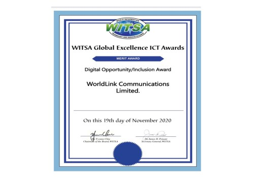 WorldLink Communications has won the international merit award