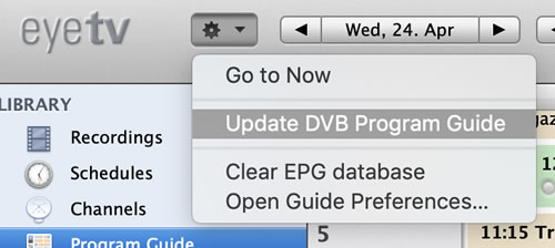 Update DVB Programme Guide
