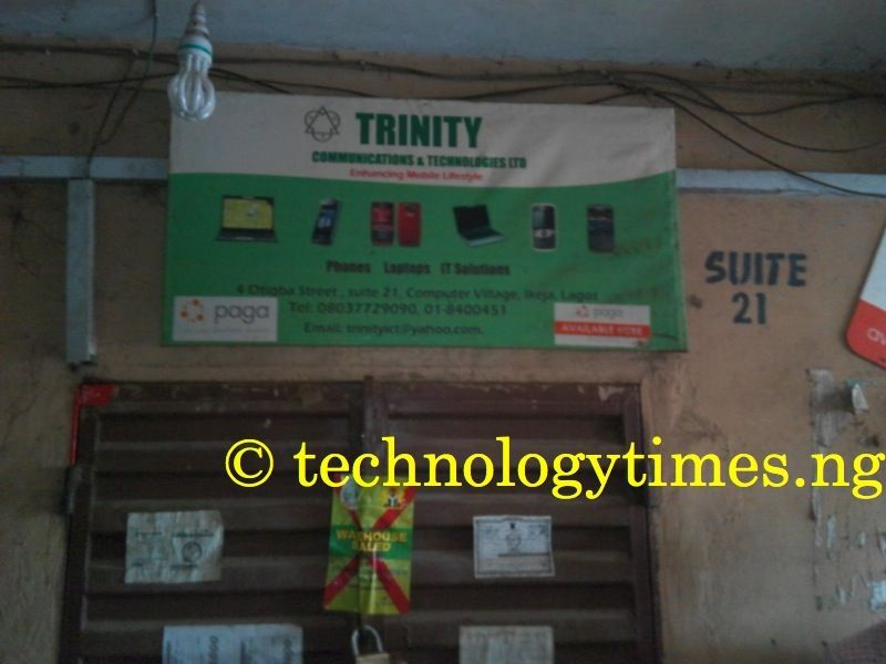 Trinity Communication, which was sealed up by SON following the raid on Ikeja Computer Village today