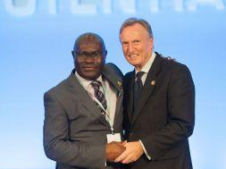 Shola Taylor (left) and Malcolm Johnson of United Kingdom, the Deputy ITU Secretary-General elect