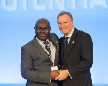 Shola Taylor (left) and Malcolm Johnson of United Kingdom, the Deputy ITU Secretary-General elect