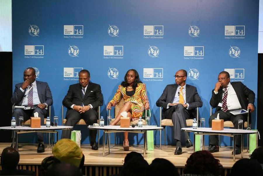 Mr. Michael Ikpoki, MD/CEO, MTN Nigeria (left); Dr Eugene Juwah, Executive Vice Chairman and CEO of the Nigerian Communication Commission (NCC); Dr Omobola Johnson, Minister of Communication Technology;  Mr Ibrahim Dikko, Director of Regulatory Affairs at Etisalat Nigeria and Mr Joseph Tegbe, Principal Partner, KPMG Nigeria at the Nigeria Investment Meeting held today at the ongoing ITU Telecom World 2014 in Doha, Qatar