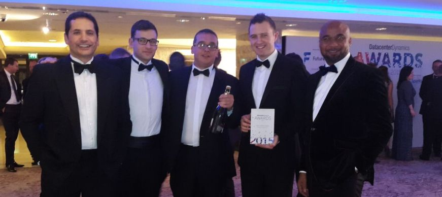 Contracts Director, BladeRoom, Sean Bailey (left); Sales & Marketing Director, BladeRoom, William Thornton, Business Development Director, Rack Centre; Howard Pheby, Key Accounts Manager, BladeRoom, Edward Dusting, Director of Operations, Rack Centre, Ezekiel Egboye at the London's Royal Lancaster Hotel recently where Rack Centre won the 2015 Data Centre Dynamics Award for Europe, Middle East and Africa (EMEA) region in the Data Centre Impact Award Category area.