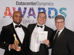 Director of Operations, Rack Centre, Ezekiel Egboye (left); Business Development Director, Rack Centre, Howard Pheby, Vice President IT Business, Schneider Electric,  Arun Shenoy at the  London's Royal Lancaster Hotel recently where Rack Centre won the 2015 Data Centre Dynamics Award for Europe, Middle East and Africa (EMEA) region in the Data Centre Impact Award Category area