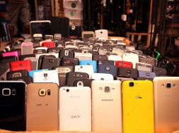 Different phone brands on display at Ikeja Computer Village in Lagos
