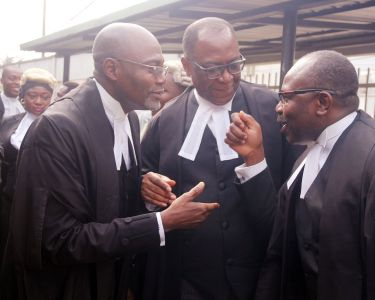 L R N C C Leading Counsel, Yusuful Ali, SAN Prof. Taiwo Osipitan SAN and Dr Muiz Banire, during MTN V NCC Case held at fed. high court Lagos  (4)