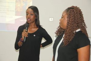 Funkola-Odeleye(L)-and -Odunoluwa-Longe-co-Founder DIYLAW speaking to participant at the information session held at the iDEA Hub, Lagos