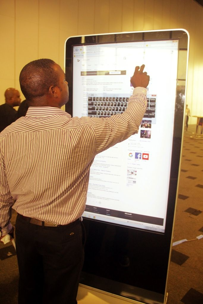 Participant interacting with an e-board at the Lagos social media week