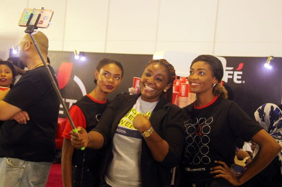 A mobie phone user seeing taking selfie at Social Media Week Lagos held recently in Nigeria. Photo credit: Kehinde Shonola of Technology Times