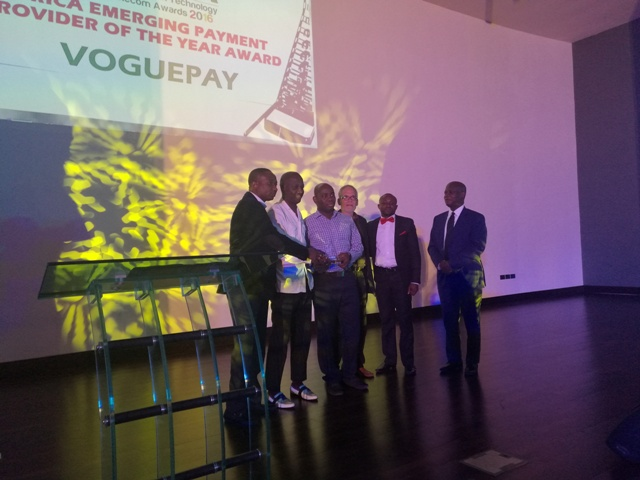 *L- R: Ibrahim Mohammed, Director, Business Development for Africa; Michael Simeon, Co-founder/CEO); Geoffrey Weli-Wosu, co-founder & Director, marketing, legal and compliance; and, Daniel Steeves, Board Advisor; and Ogunlade Oluwole, Head, Digital Media all of VoguePay Limited with Mr. William Mathew Tevie, Director General, National Communication Authority of Ghana during the presentation of the 'Best Emerging Online Payment Platform in Africa' award to Voguepay.com at the African Information Technology and Telecom Awards (AITTA) 2016 held in Accra, Ghana at the weekend.