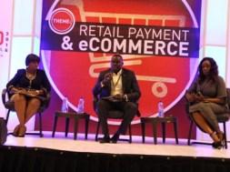 L-R Bimbola Reis, Adebanjo Ogunmola and Omokehinde Adebanjo, the panelists at the a session, during the CBN Cashless cardexpo (2)
