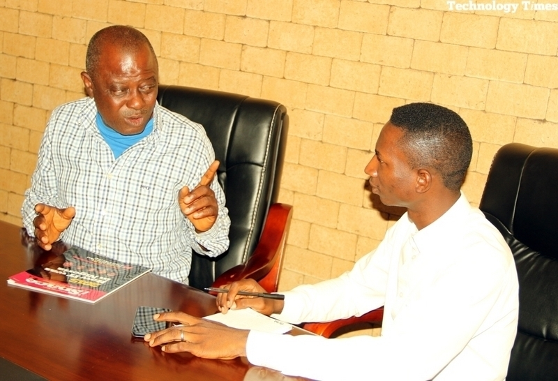 Mr. Ademola Akinlabi, Chairman, Photo-Journalist Association of Nigeria (PJAN) Lagos (left) seen in photo with Mr Success Kafoi, Technology Journalist at Technology Times during the interview Thursday August 4, 2016 at Technology Times Corporate Headquarters in Lagos