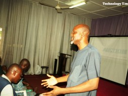 "Mr Adebiyi Oladipo, Executive Board Member of Nigerian Internet Registration Association (NIRA) delivering a lecture titled: The Internet and the Media, at a one-day training in Lagos organized by Technology Times Media Limited for Photojournalists Association of Nigeria (PJAN) on the ""Application of Technology in Photojournalism""."