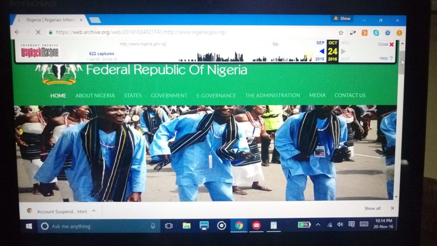Screenshot showing Nigeria's information portal as seen from web archives before the latest suspension on the Internet