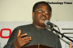 "Mr Debo Adesina, Editor-in-Chief of The Guardian Newspapers, seen in photo, while making a presentation on the theme, ""Nigerian Media in a Digital Age"" at the Technology Times Outlook 2017, #TTOutlook17, held Friday at The MUSON Centre, Lagos."