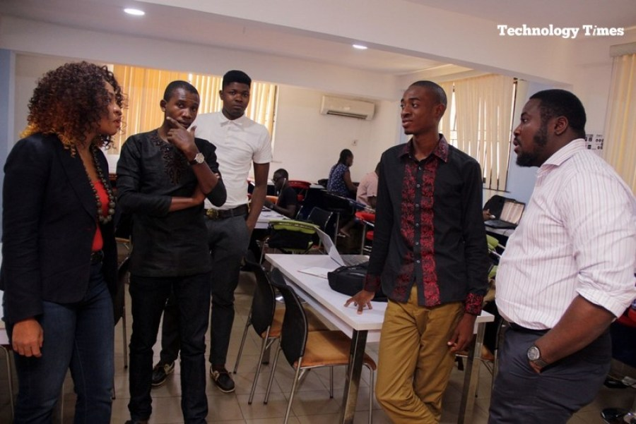 Mrs. Helen Anatogu, Chief Executive Officer of iDEA Hub, seen on the extreme left with her team at the iDEA Hub in Lagos