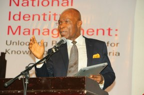 Leonard Stanley Nnamdi Ekeh, Founder and Chairman of Zinox Technologies  Limited of Nigeria seen speaking today at at Technology Times Outlook 2017, #TTOutlook17, in Lagos