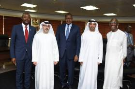 Mr. Waleed al-Muhain, Deputy CEO Mubadala Development Company (MDC), owners of Emerging Markets Telecommunication Services, trading as Etisalat Nigeria; and Prof. Umar Danbatta, EVC/CEO NCC receiving Mr. al-Muhain who led the MDC team on a courtesy visit to NCC.